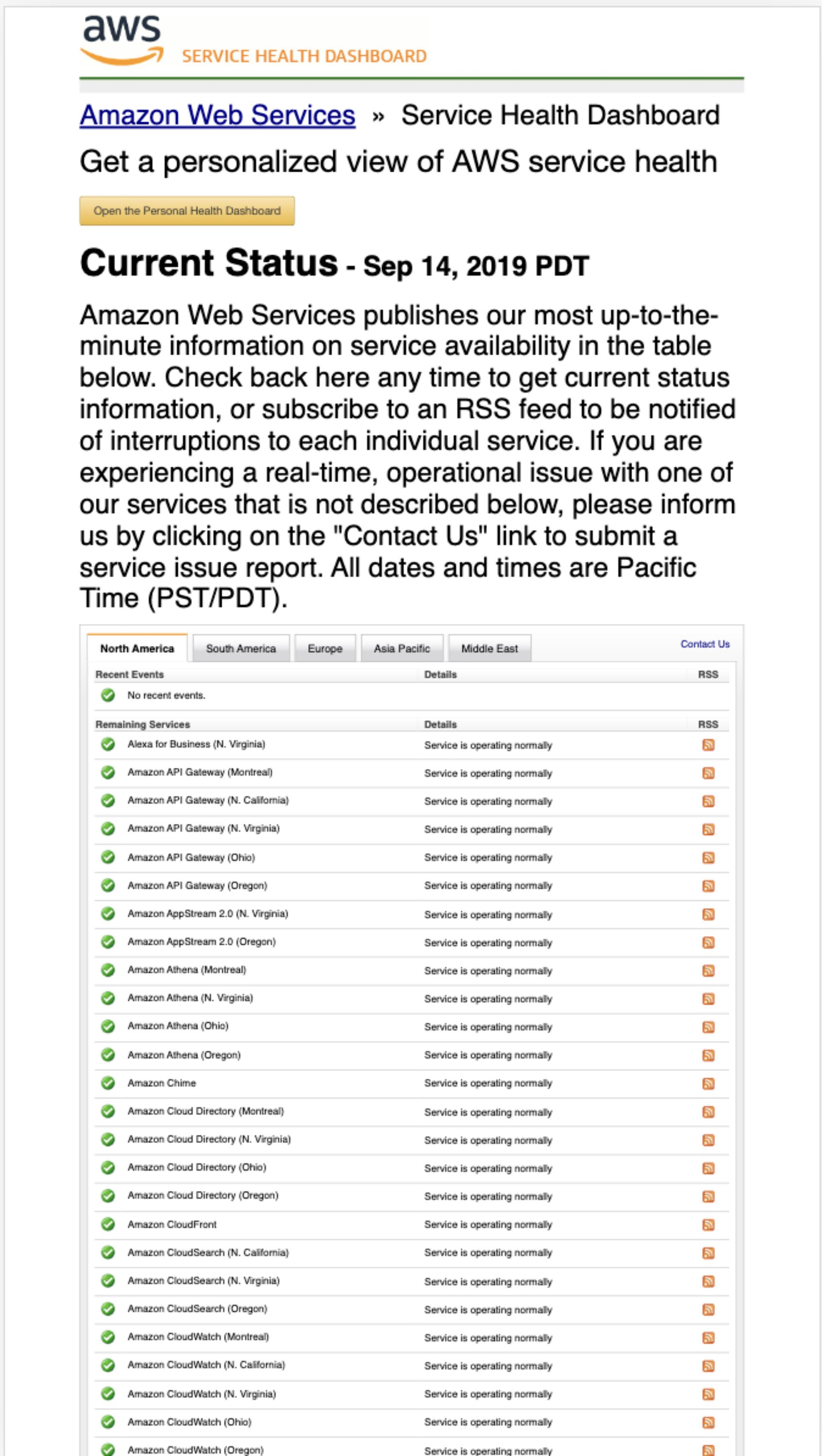 The Amazon AWS Status Page